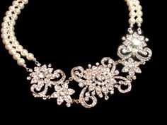Wedding jewelry SET, Statement necklace and earrings, pearl necklace, bridal necklace with Swarovski pearls and rhinestones pendants. $135.00, via Etsy.