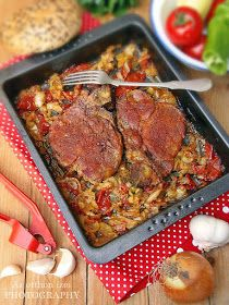Letcho pork in baking tray - Lecsós tarja tepsiben - Az otthon ízei Meat Recipes, Cooking Recipes, Healthy Recipes, Dessert Cake Recipes, Hungarian Recipes, Tasty Dishes, Tray Bakes, Food Inspiration, Food To Make
