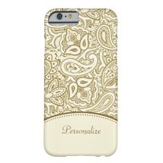 Luxury Gold and Ivory Paisley Damask With Name iPhone 6 Case