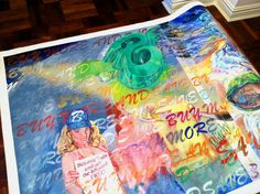 """""""Buy More And Save,""""  acrylic on canvas roll, 7' x 54'. The more an art collector buys, the more he saves, literally."""