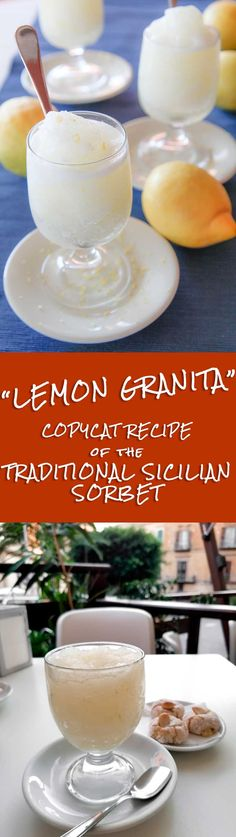 LEMON GRANITA - traditional Sicilian sorbet recipe - Lemon Granita is the traditional answer against the hot Sicilian summer. Sicily is famous for several amazing things: long history, turquoise sea, cosmopolitan culture, and amazing food! I love Sicily and last June I came back there to spend my vacation days. Trust me, drinking a lemon Granita seating comfortably around a table, and watching the Sicilian life passing in front of me: this is a piece of my personal heaven! TAGS: slush…