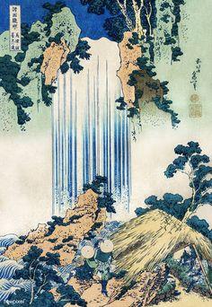 Yoro Waterfall in Mino Province (Mino no kuni Yoro no taki), by Hokusai ca. Japanese Wall Art, Japanese Drawings, Japanese Painting, Japanese Prints, Japanese Art Modern, Chinese Painting, Vintage Japanese, Japan Illustration, Mont Fuji
