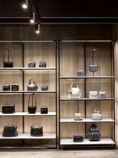 Display shelves, store displays, shelf design, retail design, shop interior d Boutique Interior, Shop Interior Design, Handbag Display, Retail Shelving, Retail Store Design, Store Interiors, Visual Display, Shop Front Design, Design Shop