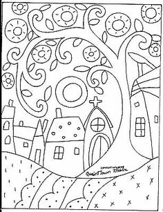 You are dealing with Karla Gerard, Maine Folk Art/Abstract Artist, Originator/Creator of concentric circles/flowers in trees paintings and in landscapes. Over of my original paintings are in worldwide collections. Folk Embroidery, Learn Embroidery, Embroidery Patterns, Bordado Popular, Karla Gerard, Rug Hooking Patterns, Landscape Quilts, Landscape Art, Flower Doodles