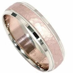 Hammered Wedding Band 14K Rose Gold. I actually kind of love this for a wedding band :D