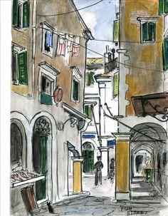 Corfu Town by Theresa Nicholas English Artists, Australian Artists, Landscape Paintings, Watercolor Paintings, Landscapes, Greek Paintings, Corfu Town, Corfu Greece, Boat Painting