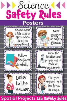 Do you need colorful Science lab safety rules posters Here s the perfect resource for you Each poster can be easily printed on a letter-sized 8 5 8243 x Science Safety Posters, Science Lab Safety, Science Tools, Science Resources, Science Projects, Science Experiments, Science Labs, Chemistry Posters, Physics Lab