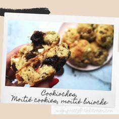 Le principe ?  Un cookie / brioche en même temps. D'où le nom Cookioche. Ils peuvent être congelés et sont encore meilleurs tièdes. Parfait pour le goûter, le petit-déjeuner par exemple ...  Pouvant être déclinés à l'infini, selon les goûts ... Au chocolat, pralines, cœur en pâte à tartiner, cacahuète ... Les possibilités sont infinis ! Cookies Et Biscuits, Parfait, Muffin, Veggies, Breakfast, Desserts, Food, Brioche, Vegetarian Cooking