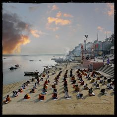 This large class of 106 Bramhans pupils was standing at Vijayanagaram ghat along the holy waters of the Ganges in Varanasi (Benaras), India.