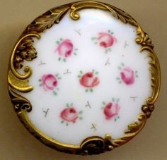 Antique Milkglass Button with Pink Rosebuds and Gold Rococo Border