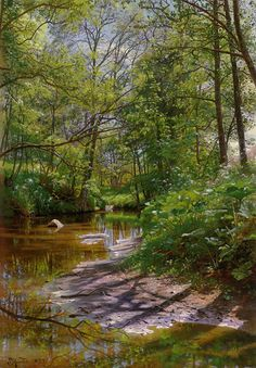 A River Landscape by Peder Mork Mønsted