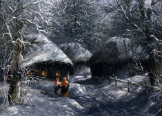 Картины (живопись) : ночь на рождество. Автор Юрий Иванович Пацан Winter Art, Snow, Mountains, House Styles, Pictures, Travel, Outdoor, Oil Paintings, People
