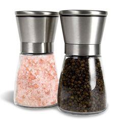 Gew/ürzm/ühle Salz und Pfefferm/ühle mit Verstellbarem Keramikmahlwerk M/ühle f/ür Salz Salzstreuer Pfefferstreuer aus Edelstahl Pfeffer Chillischoten.