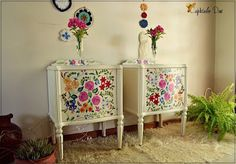 Mexican embroidery patterns handpainted on doors of these night stands