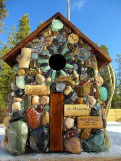 Birdhouse Large Mosaic Stone and Wine Cork by WinestoneBirdhouses