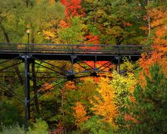 Old Iron Bridge in Bayfield, Wisconsin. When we lived in Bayfield in the this bridge was still in use! Bayfield Wisconsin, Two Harbors, Autumn Scenes, Lake Superior, Great Lakes, Vacation Spots, Places To See, Beautiful Places, Old Things