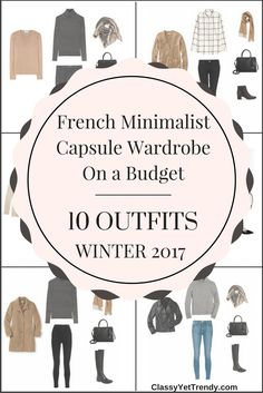 French Minimalist Capsule Wardrobe On a Budget: 10 Winter Outfits - A preview of the newest e-book which includes camel coat, boyfriend cardigan, white button-up shirt, black tee, white tee, striped turtleneck, striped top, gray sweater, tunic sweater, black jeans, skinny jeans, gray jeans, pleated skirt, ponte skirt and leather jacket.