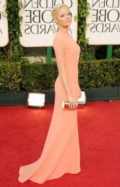 Buy Emma Stone Backless Peach Dress Golden Globe 2011 Red Carpet Dress from celeblish.com