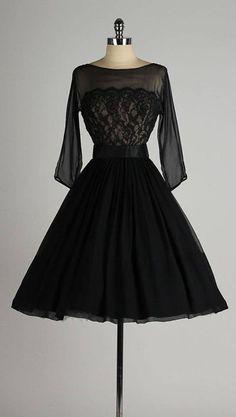 Vintage 1950s dress black chiffon lace illusion bodice detached belt