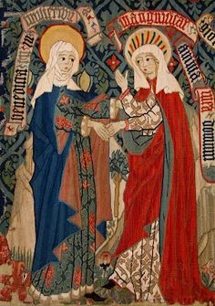 Visitation tapestry made by a Dominican nun in Switzerland, c.1450-75. / Many artistic representations of this scene have the two women in red and blue garments, and almost invariably Our Lady is shown in blue. However, in this tapestry Our Lady is unusually depicted on the right in red as she sings her Magnificat.