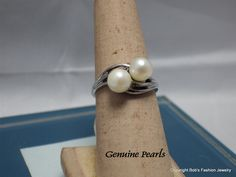 Rhodium Plated Setting with A Twin Genuine Pearls by BobsFashionJewelry on Etsy