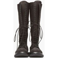 Rick Owens Black Nubuck Leather Knee High Lace-Up Combat Boots ❤ liked on Polyvore featuring shoes, boots, black knee high lace up boots, army boots, knee high laced boots, black army boots and military boots