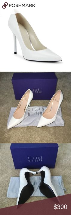 NIB Stuart Weitzman $425 white nouveau size 8M Brand new in box. Never worn. Size 8. Absolutely gorgeous. Originally 425. Small scuff on the inside of the left shoe as shown, it was there when I ordered them but may be able to be removed, I haven't tried. Stunning shoes. Would keep but they were a gift and are too small! Stuart Weitzman Shoes Heels