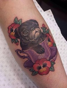 Adorable pug in a teacup #tattoo by Eddy-Lou. #PerfectTattoo #NeoTraditional
