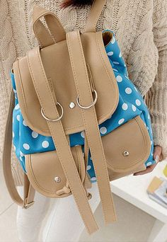 $25.99 [grzxy62000132]Leisure Cute Mixing Color Polka-dot Print Backpack Bag