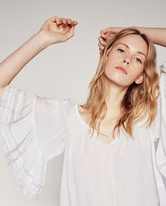 Image 3 of BLOUSE WITH GATHERED NECKLINE from Zara