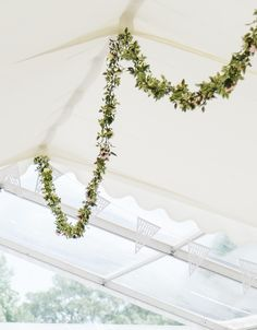 Devon and Cornwall Marquee Hire, Somerset, Dorset, Exeter, Plymouth A beautiful garland of flowers to decorate the roof space for a marquee wedding. Looks so delicate and simple - less is more! Photo credit: Memories and Milestones Photography. Wedding Flower Decorations, Flower Garlands, Wedding Flowers, Marquee Hire, Marquee Wedding, 30th Wedding Anniversary, Anniversary Parties, Outdoor Wedding Inspiration, Outdoor Ideas