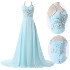 Halter Homecoming Evening Prom Long Formal Wedding Bridesmaid Gown Dress US 2-16