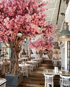 Today is officially the day of Autumn 🍂 but we're holding onto our beautiful blooms for as long as we can thanks to this fab photo by… Bar Restaurant Design, Deco Restaurant, Bakery Design, White Restaurant, Restaurant Restaurant, Restaurant Wedding, Cafe Interior Design, Cafe Design, Deco Cafe