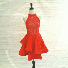 HOST PICK Gorgeous Party Dress Perfect red fit and flare dress with detailed back! Gorgeous for any type of occasion.  Will ship out Monday, December 21. I have two Small, two Medium, and one Large. Please view closet for other listing. tea and cup Dresses