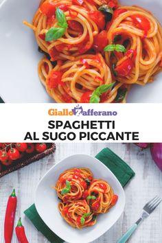 Gli SPAGHETTI AL SUGO PICCANTE sono un primo piatto facile e veloce. Si preparano con un sugo fresco di pomodorini ciliegino saltati in padella e peperoncino fresco.  #giallozafferano #pasta #spaghetti #primi #primipiatti #primifacili #primiveloci #sugo #pomodorini #easyrecipes #ricettefacili #ricetteveloci  [Spaghetti with Spicy Tomato Sauce] Spaghetti, Vegan Vegetarian, Risotto, Ethnic Recipes, Food, Vegetarian, Home, Essen, Meals