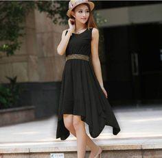 2014 New Fashion Ladies Solid Color Sleeveless Summer Dress Women O-neck Irregular Chiffon Casual Plus Size Dress XXL