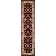 Handmade Rectangular Persian Sultanabad Runner Area Rug in Red with Ivory Accents, 2x11 area rugs