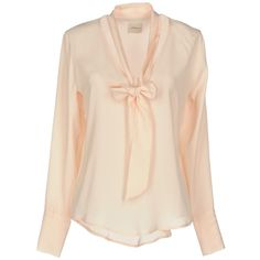 ..,merci Blouse (5.200 RUB) ❤ liked on Polyvore featuring tops, blouses, light pink, pink top, pink pussy bow blouse, bow neck blouse, long sleeve tops and pink long sleeve top