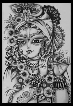 Ideas for womens tattoos mandala colour Doodle Art Drawing, Cool Art Drawings, Pencil Art Drawings, Art Drawings Sketches, Shiva Art, Hindu Art, Lord Krishna Sketch, Radha Krishna Sketch, Arte Krishna