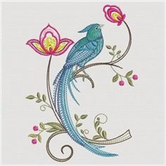 Jacobean floral bird Machine embroidery   Ace Point