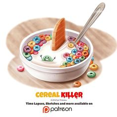 Day Cereal Killer by Piper Thibodeau on ArtStation. Cute Food Drawings, Cute Animal Drawings, Kawaii Drawings, Ghost Drawings, Anime Animals, Cute Animals, Colorful Animals, Cereal Killer, Chibi