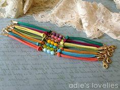 Faux Suede & Czech Glass Faceted Bead Bracelets  by adieslovelies, $9.50