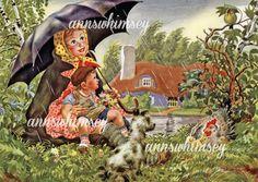 Art For Nursery, Child's Room Restored Antique Art Print 382 Group E