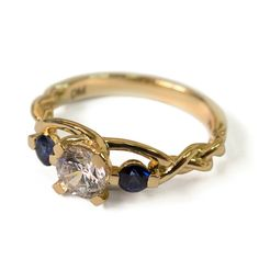 Braided Engagement Ring – Diamond and Sapphires engagement ring, gold diamond ring, unique engagement ring, celtic ring, three stone ring