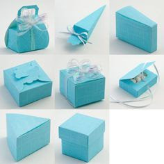 Celeste Blue Silk - sky blue favour boxes with a linen texture, perfect for both weddings and christenings.