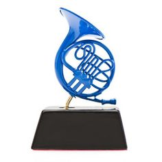 Blue French Horn on Black Stand inspired by How I Met Your Mother | Cool TV Props