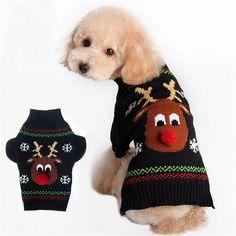Kleine Weihnachten Haustier Hund Pullover Winter Warme Pullover Mantel Tops Hund Kleidung Strickwaren Puppy Mantel Outwear Kostüm