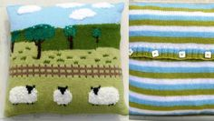 Top 10 sheep knitting patterns - Sheep in the Countryside Cushion cover available to download at LoveKnitting