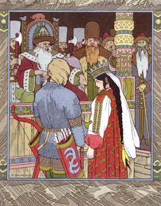 Illustration for the Tale of Prince Ivan, The Firebird and the Grey Wolf, 1899 - Ivan Bilibin - by style - Art Nouveau (Modern) Ivan Bilibin, Art Populaire Russe, Folklore Russe, Russian Folk Art, Russian Style, Fairytale Art, Firebird, Illustrations And Posters, Children's Book Illustration