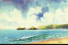 Original Watercolour, Mumbles, Swansea Bay, Wales, 20 x 16ins, Gift Idea, Art and Collectables, Home and Living